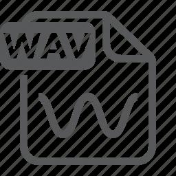 audio, document, extension, file, format, type, wav icon