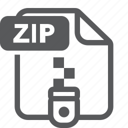 document, extension, file, format, type, zip icon