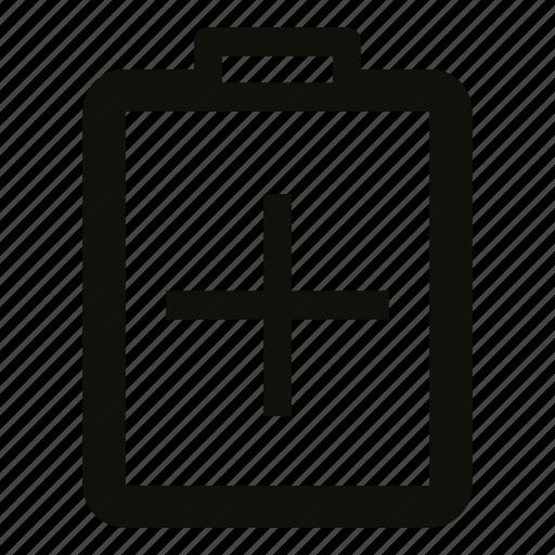 add, add to clipboard, clipboard, document, file, insert, plus icon