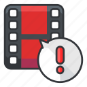 alert, file, files, video, warning icon