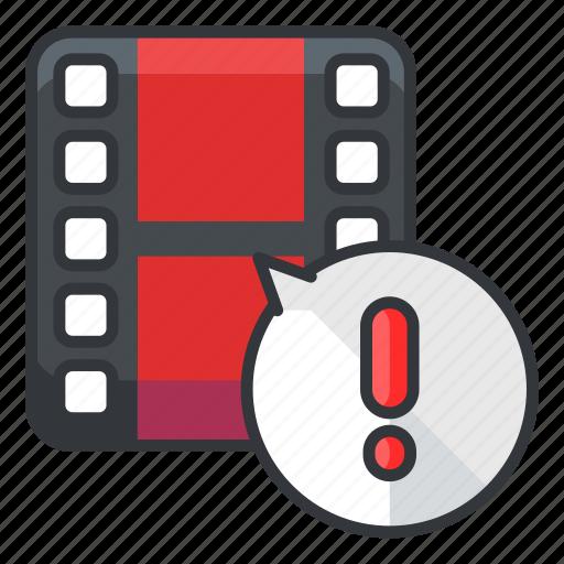 alert, file, files, video, warning icon