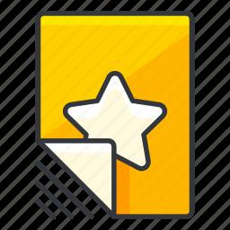 bookmark, document, file, files, star icon