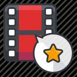 bookmark, file, files, media, star, video icon