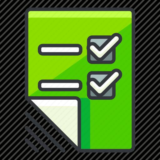 checklist, document, file, files, list icon