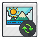arrows, file, files, image, photo, refresh icon