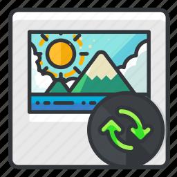 arrows, file, files, image, photo, refresh icon