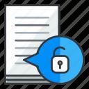 document, file, files, security, unlock icon