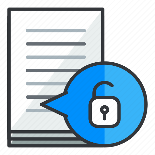 document, file, files, security, unlock icon