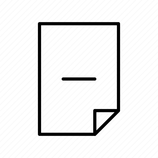document, extension, file, format, minus, paper icon