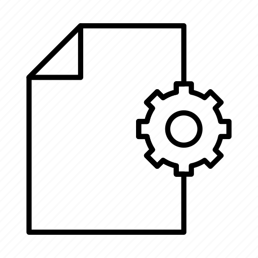 document, extension, file, format, gear, paper, settings icon