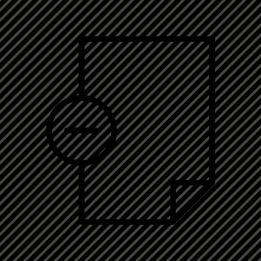 document, extension, file, format, minus, paper, remove icon