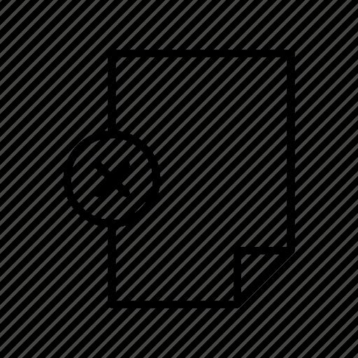 cross, delete, document, extension, file, format, paper icon
