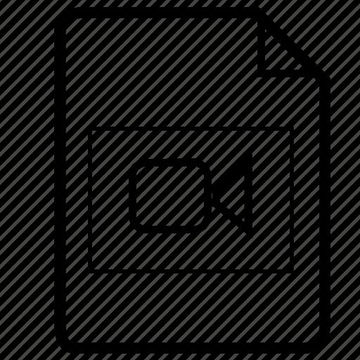document, file, file video, movie file, video, video file icon