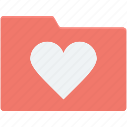 data folder, folder, heart, romantic movies, romantic songs icon