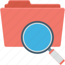 data folder, data storage, magnifier, search file, search folder icon