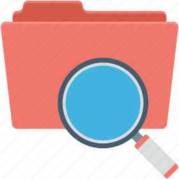data folder, data storage, magnifier, search file, search folder icon