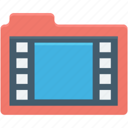 movie file, movies, multimedia file, video clip, video folder icon