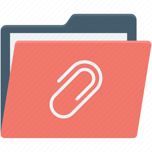 archive, attachment folder, data storage, folder, paperclip icon