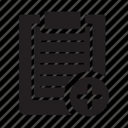 add, checklist, clipboard, files, lines, plus icon