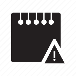 alert, files, notes, sign, warning icon