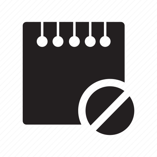 block, files, notes, prohibited icon