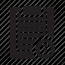 checlist, clipboard, files, lock, privacy, security icon