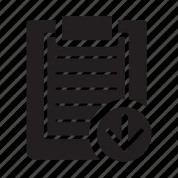 checklist, clipboard, down, files, move icon