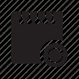 arrows, files, notes, refresh icon