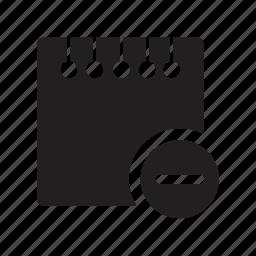 delete, files, minus, notes, remove icon