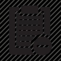 checklist, clipboard, files, minus, remove icon