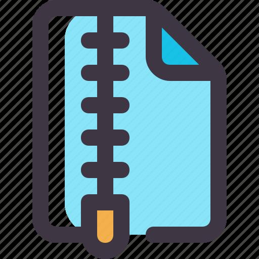 document, file, paper, rar, zip icon