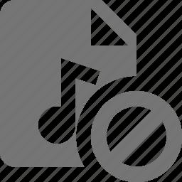 audio, block, file, music, stop icon