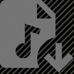arrow, audio, down, download, file, music icon