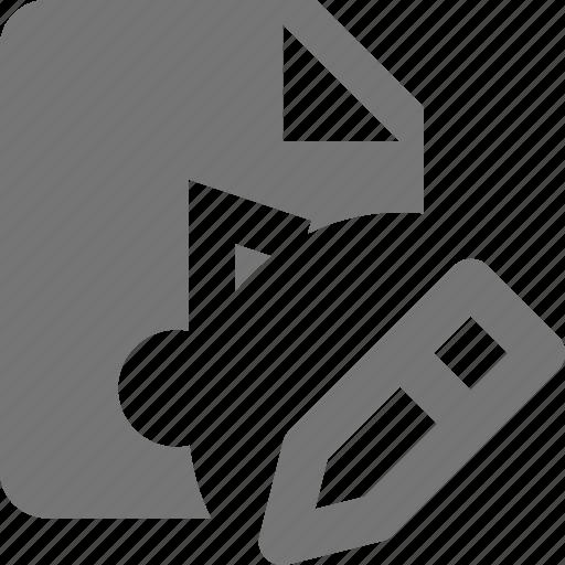 audio, edit, file, music icon