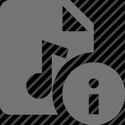 audio, file, information, music icon