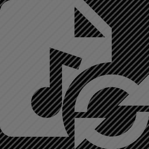 audio, file, music, refresh, reload, sync icon