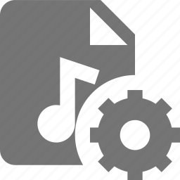 audio, configuration, file, gear, music, settings icon