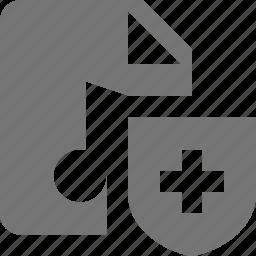 audio, file, music, shield icon