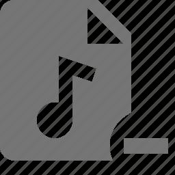 audio, delete, file, minimize, music, remove icon