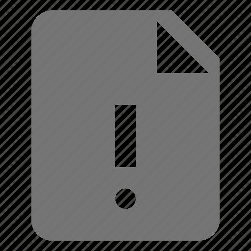 alert, error, exclamation, file icon
