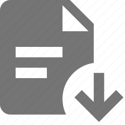 arrow, down, download, file, text icon