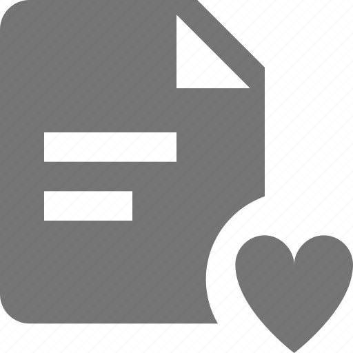 favorite, file, heart, like, text icon