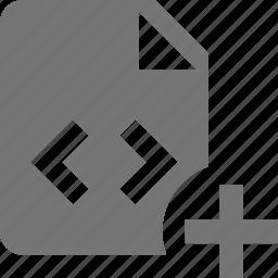 add, coding, file, new, plus, programming icon