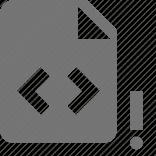 alert, coding, error, exclamation, programming icon