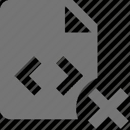 close, coding, delete, file, programming icon