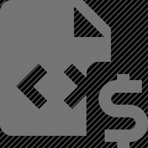 coding, dollar, file, money, programming icon