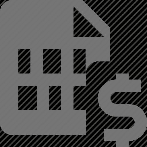 dollar, file, money icon