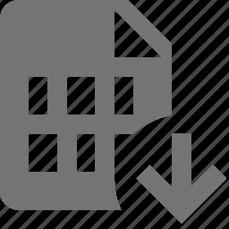arrow, down, download, file icon