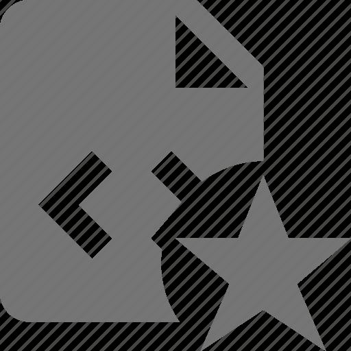 coding, favorite, file, programming, star icon