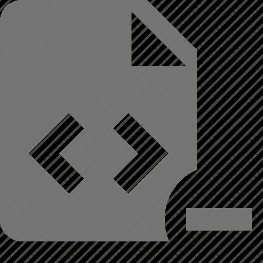coding, file, minimize, minus, programming icon